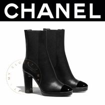 CHANEL ICON Plain Toe Casual Style Street Style Plain Leather