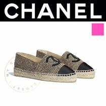 CHANEL ICON Plain Toe Casual Style Tweed Street Style Plain Handmade