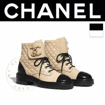 CHANEL MATELASSE Plain Toe Lace-up Casual Style Street Style Plain Leather