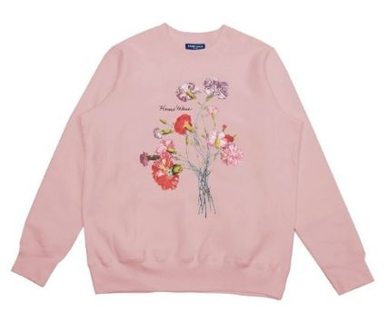 Flower Patterns Unisex Street Style Long Sleeves Cotton Logo