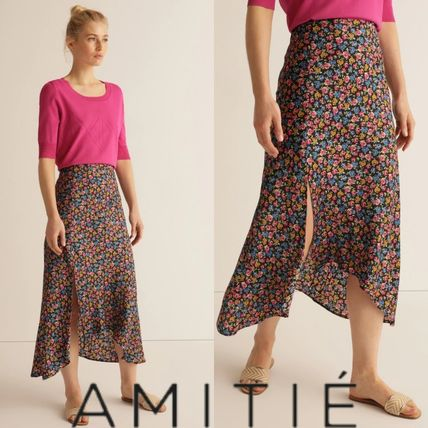 Flared Skirts Flower Patterns Casual Style Medium