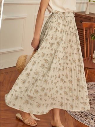 Flared Skirts Flower Patterns Casual Style Long
