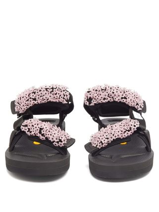 Rubber Sole Casual Style Plain With Jewels Sandals