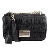 PRADA Casual Style Unisex Vanity Bags Chain Plain Leather
