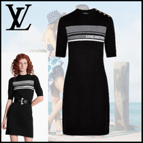 Louis Vuitton Short Cashmere Short Sleeves Dresses