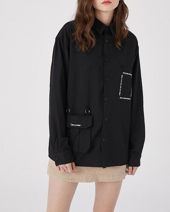Unisex Street Style Long Sleeves Oversized Front Button
