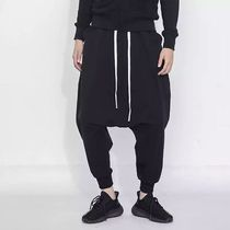 Unisex Street Style Plain Cotton Oversized Sarouel Pants