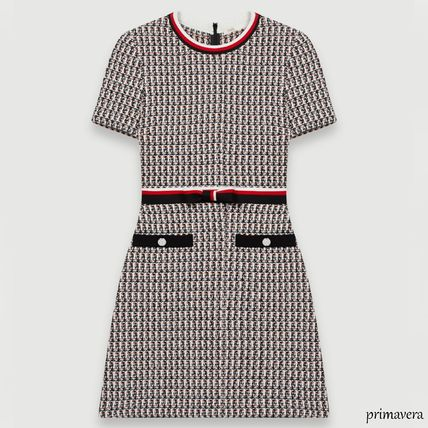 Short Casual Style Tight Tweed Cotton Short Sleeves
