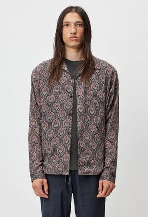 Button-down Paisley Street Style Long Sleeves Cotton