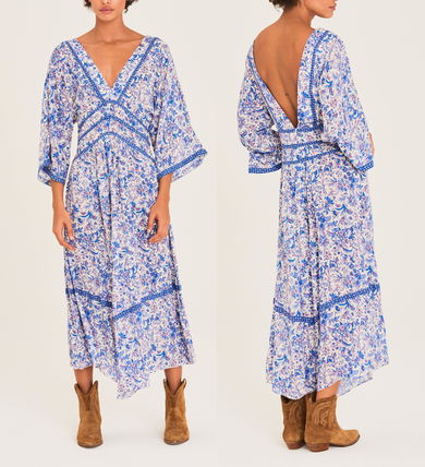 Flower Patterns Casual Style Maxi V-Neck Cropped Long