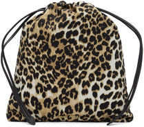 MiuMiu Camouflage Leopard Patterns Casual Style Street Style Purses