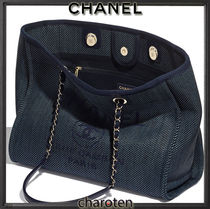 CHANEL DEAUVILLE Unisex Calfskin Canvas A4 2WAY Chain Plain Leather Bridal