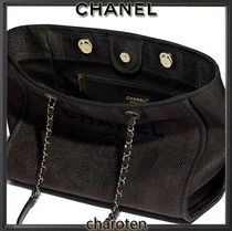 CHANEL DEAUVILLE Casual Style Unisex Calfskin Canvas A4 2WAY Chain Plain