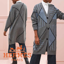 HERMES Argile Casual Style Cashmere Long Sleeves Long Office Style