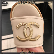 CHANEL ICON Open Toe Platform Casual Style Blended Fabrics Plain Leather