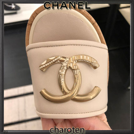 CHANEL ICON Mules Formal Style  Bridal Logo Open Toe Platform