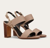 VALENTINO Open Toe Casual Style Studded Block Heels Elegant Style