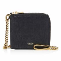 TOM FORD Chain Plain Leather Folding Wallet Long Wallet