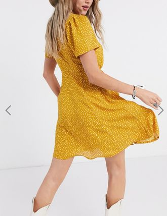 Dots Casual Style V-Neck Short Sleeves Office Style Dresses