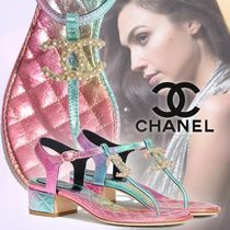 CHANEL Open Toe Casual Style Blended Fabrics Leather Block Heels