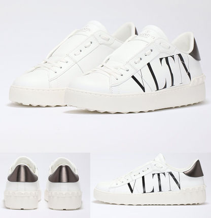 VALENTINO Round Toe Rubber Sole Casual Style Unisex Street Style