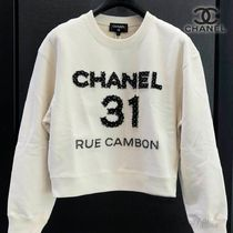 CHANEL Crew Neck Street Style Long Sleeves Plain Logo
