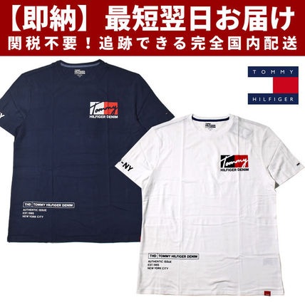 Tommy Hilfiger Crew Neck Crew Neck Unisex Street Style Cotton Short Sleeves Oversized