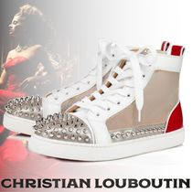 Christian Louboutin Rubber Sole Casual Style Blended Fabrics Studded