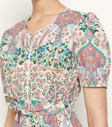 Flower Patterns Casual Style Linen Flared Long Short Sleeves