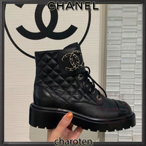 CHANEL ICON Plain Toe Rubber Sole Lace-up Casual Style Blended Fabrics