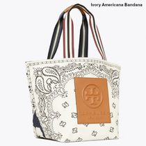 Tory Burch Stripes Flower Patterns Paisley Casual Style Canvas Logo