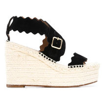 Chloe Open Toe Platform Casual Style Suede Blended Fabrics