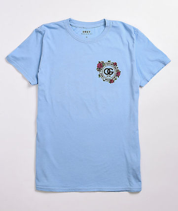 OBEY Crew Neck Flower Patterns Street Style Cotton Short Sleeves
