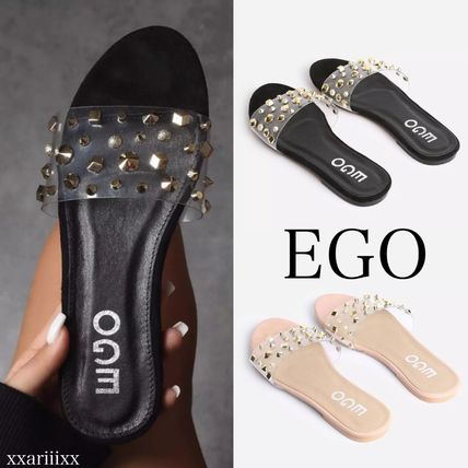 Open Toe Casual Style Suede Faux Fur Studded Logo Sandals