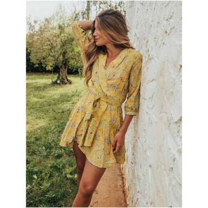 Short Flower Patterns Casual Style Flared Cropped Dresses