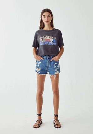 Tropical Patterns U-Neck Collaboration Short Sleeves Logo