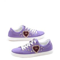 Dolce & Gabbana Heart Round Toe Lace-up Casual Style Studded Street Style