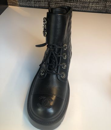CHANEL Lace-up Lace-up Lace-up Boots 6