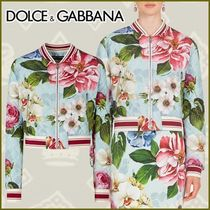 Dolce & Gabbana Short Flower Patterns Casual Style Logo Varsity Jackets