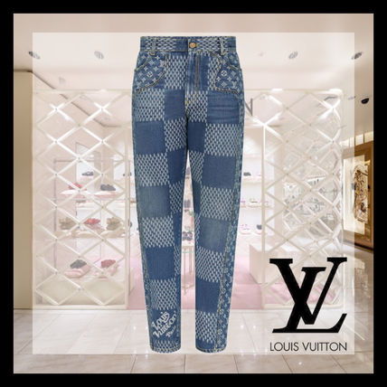 Louis Vuitton More Jeans Giant Damier Waves Monogram Denim Pants