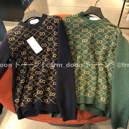 GUCCI Sweaters Crew Neck Pullovers Wool Bi-color Long Sleeves Logo Luxury