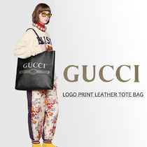 GUCCI Casual Style Unisex Plain Leather Party Style Office Style