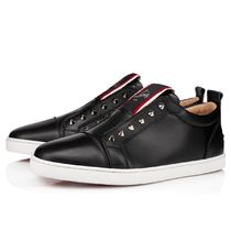 Christian Louboutin Studded Plain Leather Logo Sneakers