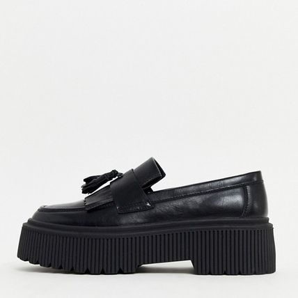 ASOS Plain Toe Loafers Faux Fur Tassel Street Style Plain