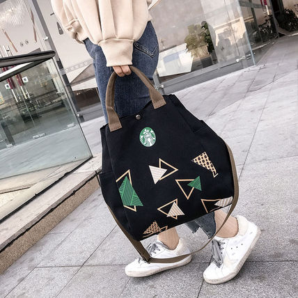 Casual Style Unisex Street Style Plain Logo Shoulder Bags