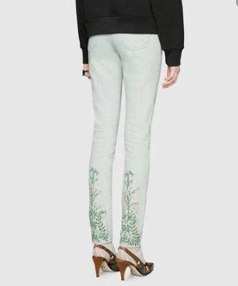 GUCCI Flower Patterns Leather Cotton Skinny Jeans