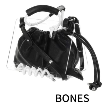 Casual Style Street Style Leather Crystal Clear Bags