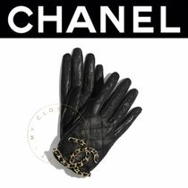 CHANEL ICON Street Style Chain Plain Leather Handmade Logo Gloves Gloves