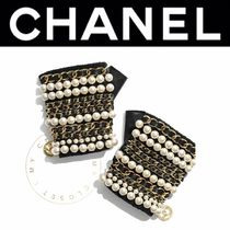CHANEL ICON Blended Fabrics Street Style Chain Plain Leather Handmade