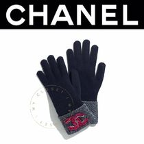 CHANEL ICON Wool Cashmere Street Style Plain Handmade Logo Gloves Gloves